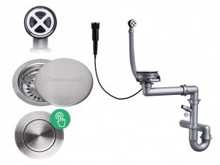 Automatický jednokomorový sifón Pop-up + kryt z nehrdzavejúcej ocele